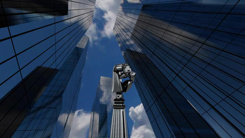Robot hand rotating on bellow tall building Animation