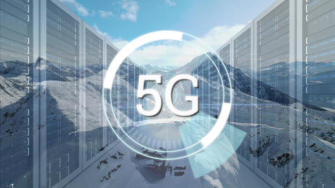 Snowy mountain and 5G written in the middle of a futuristic circles with server towers Animation