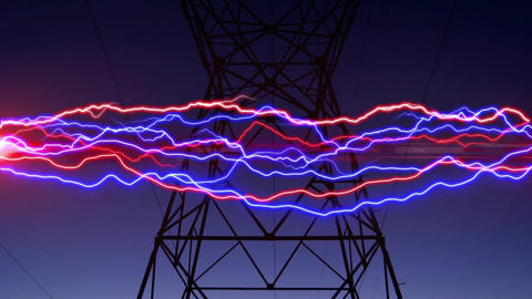 Colorful lightning and a power line tower Animation