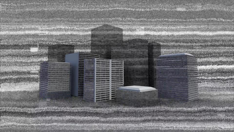 Monochrome static and buildings Animation