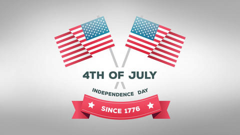 4th of July, Independence Day since 1776 text with American flags Animation