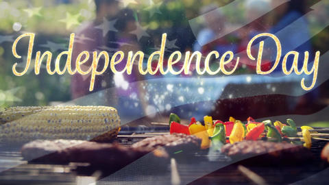 People celebrating Independence Day over barbecue outdoors Animation