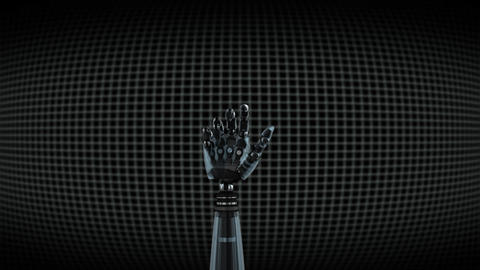 Robot arm on grid background Animation