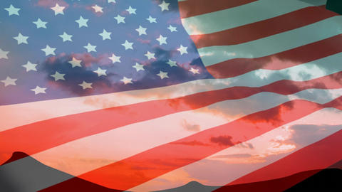 American flag and view of the mountain with the sky Animation