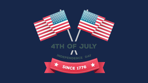 4th of July, Independence day since 1776 text in a banner and American flags Animation