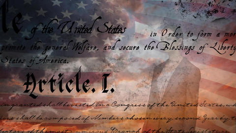 American flag behind woman in business suit and the written constitution of the United States Animation