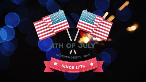 4th of July, Independence day since 1776 text in banner with American flags Animation