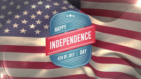 Happy Independence Day, 4th of July text in a badge and flag Animation