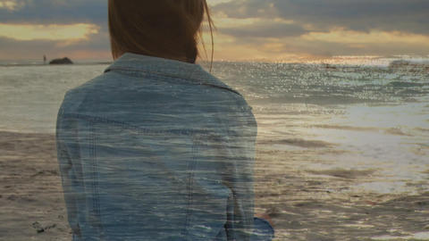Woman sitting by the beach Animation