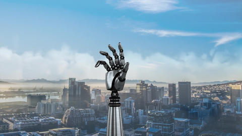 Animation of robot hand on a city background Animation