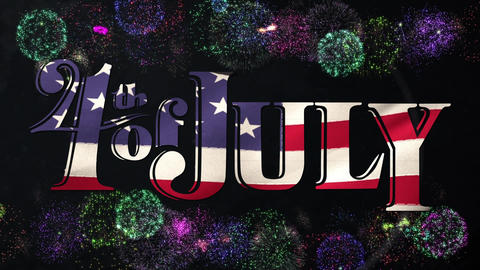4th of July text and fireworks Animation