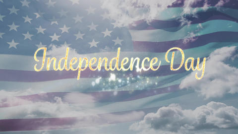 Independence day text and a flag Animation