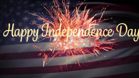 Happy Independence Day greeting with fireworks and flag Animation