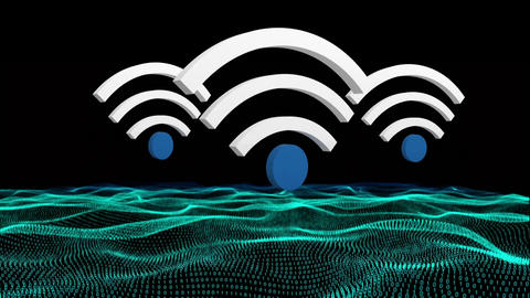 WiFi symbol and a land graph Animation
