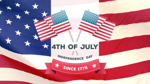 4th of July, Independence day since 1776 text in banner and American flags Animation