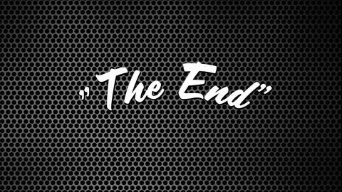 The End sign in patterned background and noise Animation