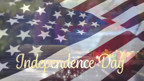 Independence day text with a flag and barbecue for fourth of July Animation