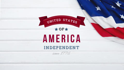 United States of America, Independent since 1776 text in banner Animation