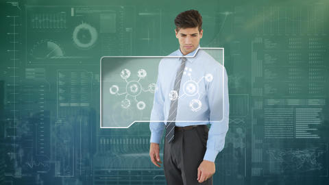 Businessman using a touchscreen with futuristic interface Animation