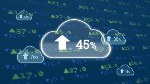 Upload progress clouds and economic values Animation