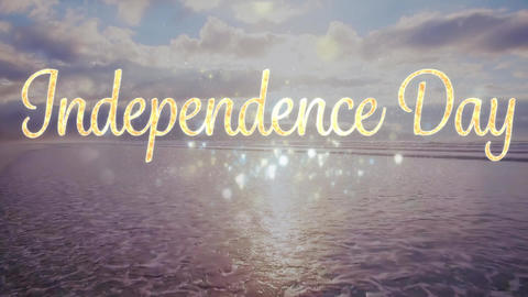 Independence day text over the sea Animation