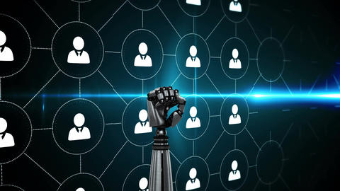 Robotic hand and profile icons in circles Animation