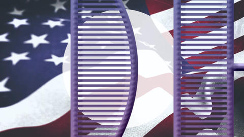 4th of July text and an American flag Animation