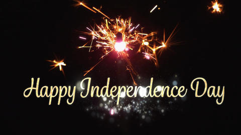 Happy Independence Day text and a sparkle Animation