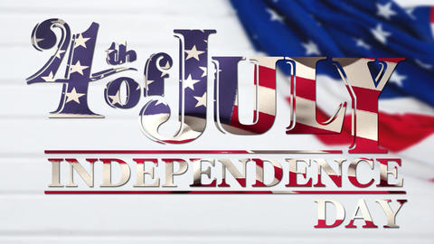 4th of July, Independence Day text with an American flag Animation