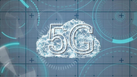 Digital cloud behind 5G written in the middle of a futuristic circles Animation
