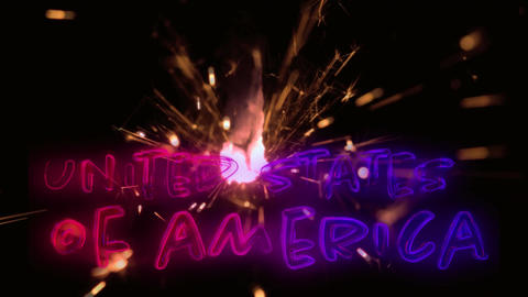 United States of America text for fourth of July Animation