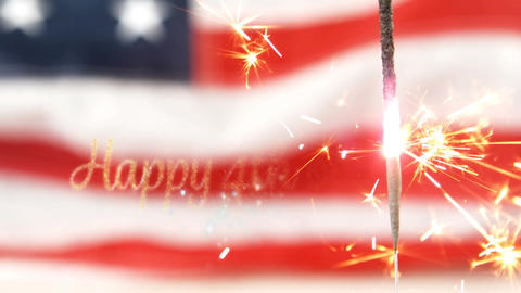 Happy 4th of July text and a flag behind a sparkle Animation