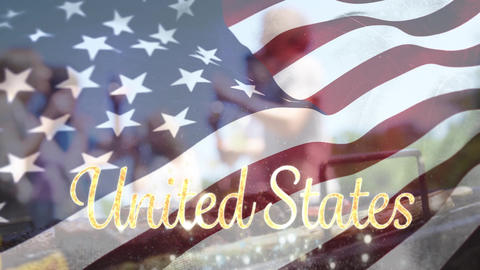 United States text with a flag and group of people for fourth of July Animation