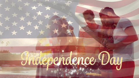 Friends at beach and American flag with Independence Day text for fourth of July Animation