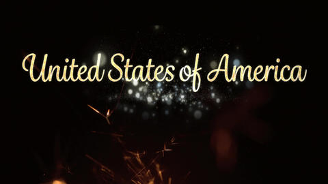 United States of America text and a sparkle for fourth of July Animation