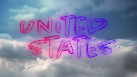 United States text and the sky Animation