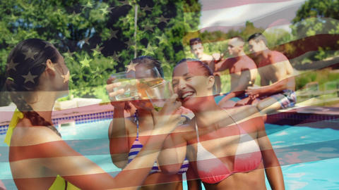 Group of friends celebrating in the pool and an American flag for fourth of July Animation