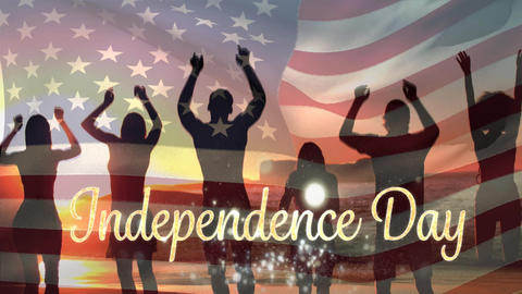 Friends at the beach and American flag with Independence Day text for fourth of July Animation