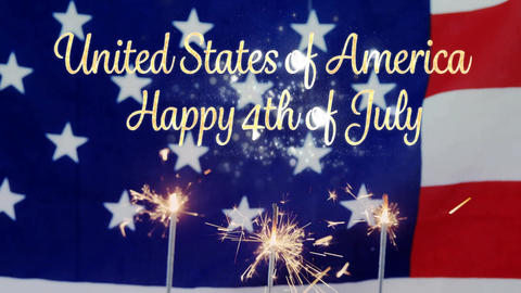 American flag behind cupcakes with sparkles and United States of America, Happy 4th of July text Animation