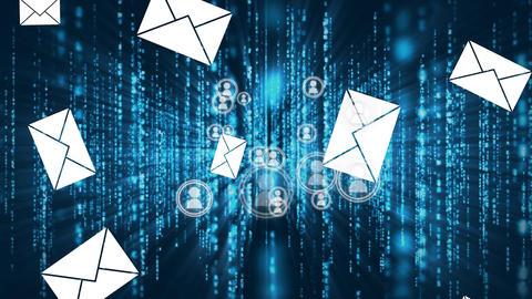 Messaging, online community, and matrix rain Animation