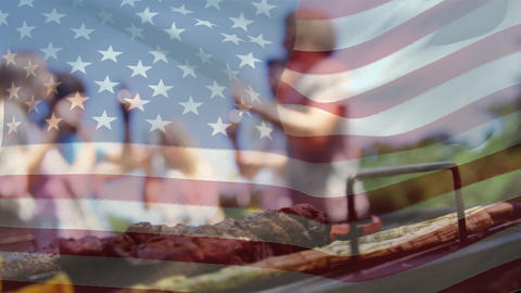 Group of friends celebrating and an American flag for fourth of July Animation