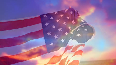American flag and the sky Animation