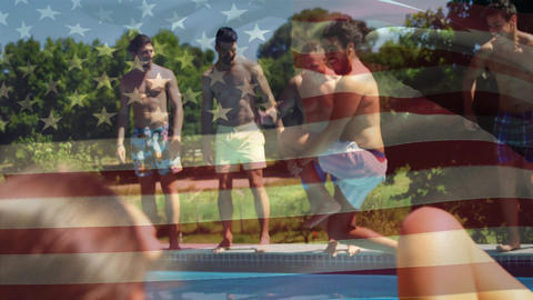 Group of men jumping in the pool and an American flag for fourth of July Animation