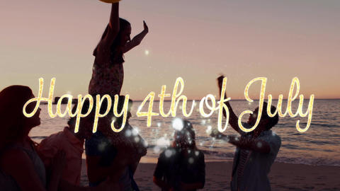 Happy 4th of July greeting and people partying by the beach 4k Animation