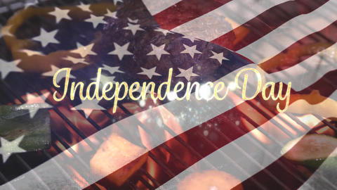 Barbecue and the American flag with an Independence Day text for fourth of July Animation