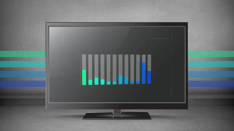 Coloured bar chart on a flatscreen with colours in the background Animation