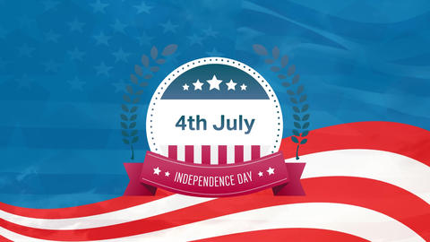 4th of July text, Independence Day in banner and American flag Animation