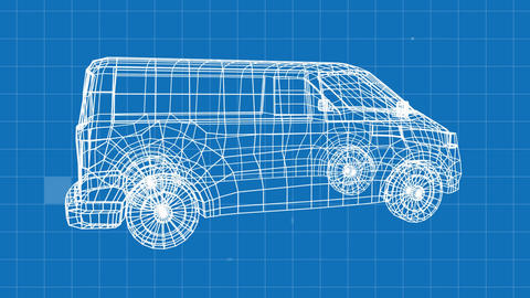 Revolving technical drawing of van on a blue background Animation