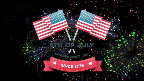 4th of July, Independence day since 1776 text in banner and American flags with fireworks Animation