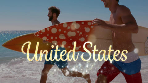 United States text and men carrying surf boards by the beach Animation